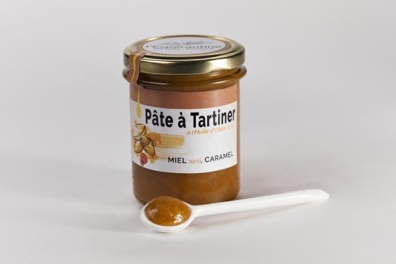 Pâte à tartiner à l'huile d'olive 12.3%, miel 12.3% et caramel