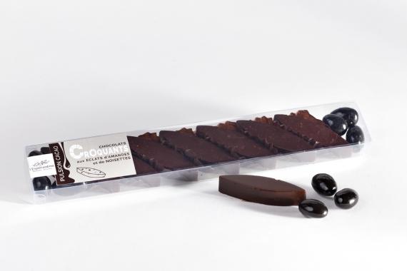 Chocolat noir aux amandes et noisettes torréfiées, amandes enrobées de chocolat